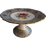 Exquisite English Hammersley Hand Painted Compote with Grey Accent