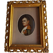 Antique Hand Painted Portrait of Napoleon on Porcelain in Shadowbox Frame