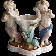 19th Century Antique Dresden Figurine with Putti...Helena Wolfsohn Studio