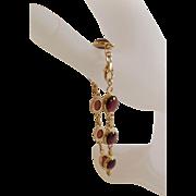 """Estate Marked 14 Karat Gold and Garnet Bracelet...8"""" Long"""