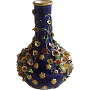 19th Century English Floral Encrusted Vase
