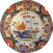 Rare English First Period Dr. Wall Worcester Large Imari Chinoiserie Plate