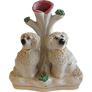 Early 20th Century English Staffordshire Spill Vase with Poodles