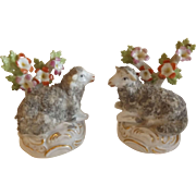 Pair of Wonderful Antique Reclining Sheep with Gold Anchor Mark