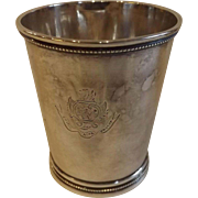 Antique Coin Silver Mint Julep Cup Marked T. Gowdy (1795-1863), Tennessee Silversmith Beginning in 1825