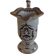French Samson Helmet Shaped Creamer with Faux Chinese Mark and Armorial Decoration