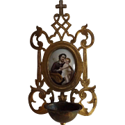 Antique French Religious Font with Hand Painted Jesus and Child