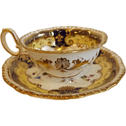 Early 19th Century English Tea Cup and Saucer, H. & R. Daniel, Pattern 4058