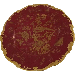 Coalport Maroon Cairo Dinner Plate with Scalloped Gilt Trim