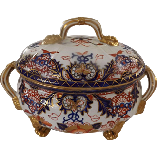 Antique Crown Derby Lidded Sauce, Imari Colors, Early Puce Mark