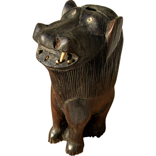 African sculpture - solid ebony lion, hand-carved, sub-Saharan, bone eyes and teeth