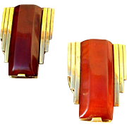 Rare pair dress clips, French art deco in bakelite and gold tone metal