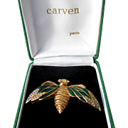 80s boxed Carven bug brooch enamel and rhinestones, signed French haute couture