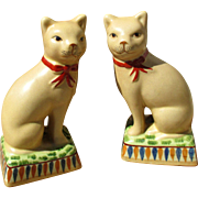 Pair French ceramic cats, 40s - 50s, Northern or Western France