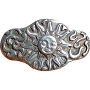 Heavy silver tone French hair slide with sun motif, Made in France, 1970s