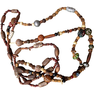 African or Comoros Island handmade and hand-carved beads, mixed materials, two strands