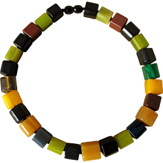 Exceptional bakelite necklace, multicolor geometric beads, 1940s French art deco, 110g