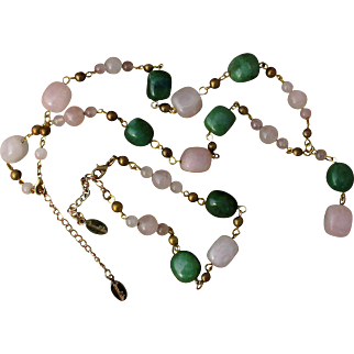 French gemstone necklace and bracelet set, signed designer chain with rose quartz and aventurine / jade stones