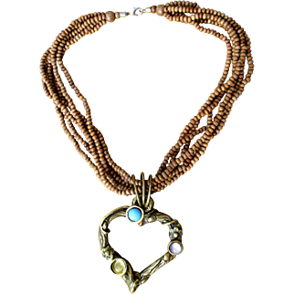 French designer choker necklace signed Loola Paris, bronze heart, glass cabochons on wooden beads