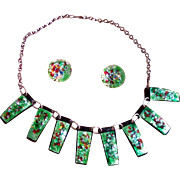 70s French handmade enamel necklace and clip-on earring set