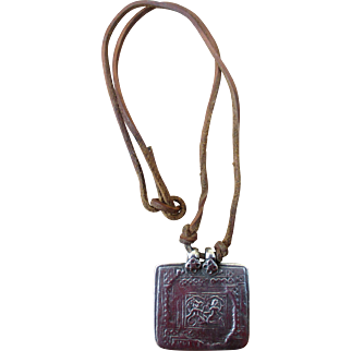 Old Asian amulet in non-hallmarked silver - square pendant on leather thong, men's women's unisex