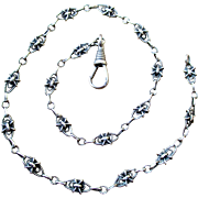 Antique Art Nouveau / French Arts and Crafts silver necklace / fob watch chain