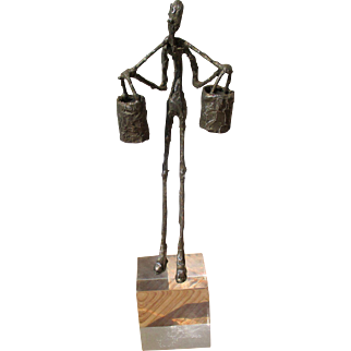 Unusual Giacometti style sculpture, hand-worked metal figure on perspex base