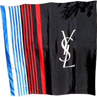 Yves Saint Laurent silk scarf, red, white blue and black, large YSL logo / blazon