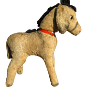 50s French donkey, straw stuffed plush furry toy