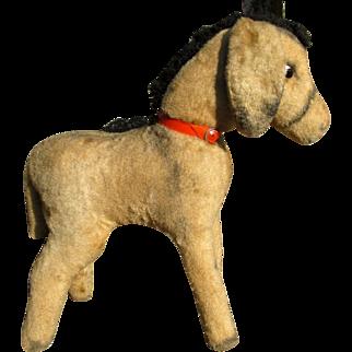 50s French donkey, straw stuffed plush furry toy