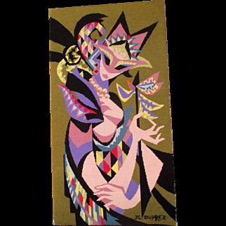 "1960s tapestry, DMC canvas by Jean-Claude Duprez, ""Arlequine"""
