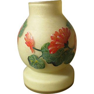 French art nouveau glass vase, hand painted, signed 'Lily'