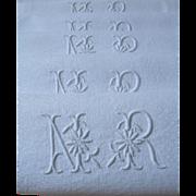 Set 10 antique French 19th century linen damask dinner napkins serviettes - monogram NR