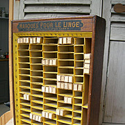 Rare 1920s French haberdasher's Mercerie counter top display cabinet - name tapes