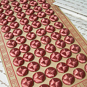 Complete original card - 72 French 19th century silk buttons for period costume project - old rose pink