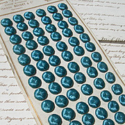 Complete original card - 72 French 19th century silk buttons for period costume project - kingfisher blue
