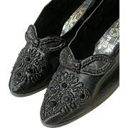 Pair French 1890s silk shoes with jet beadwork embroidery & Louis heels