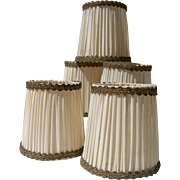 Set of 5 vintage French 1920s pleated satin and gold bullion braid trim light  lamp shades