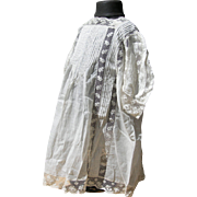 Delightful unworn antique French child's toddler's dress tunic smock with lace inserts 1890s