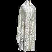 Delicious antique French circa 1910 Edwardian silky lace shawl wrap mantilla