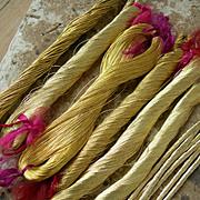 12 skeins antique late 19th century French / German gold tone metallic embroidery bullionwork thread yarn