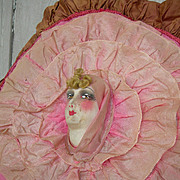 Vintage French 1920s boudoir doll cushion cover sham with ribbon ruffles