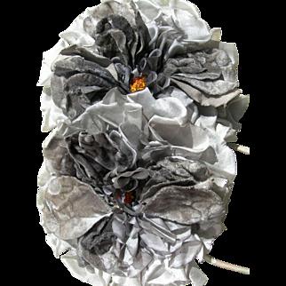 2 huge vintage French 1920s silk & velvet millinery hat flowers roses - soft grey tones