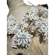Vintage French 1920s unused die-cut fabric flowers wedding tiara crown with original shop label attached
