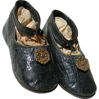 Pair antique French 1860s apparently unworn baby toddler shoes with brass buttons