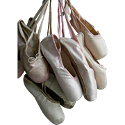 4 pairs vintage French & Italian ballet pointe shoes - pink & white - for shabby display