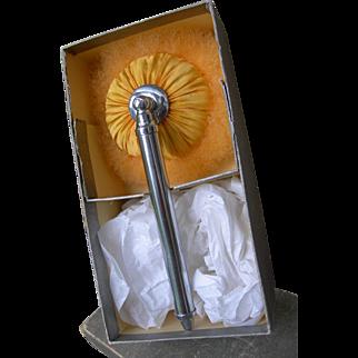 Rare apparently unused, boxed vintage 1920s plump swansdown telescopic powder puff