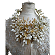 Antique French 19th century wax flower wedding crown tiara 1893
