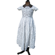 Adorable Victorian hand embroidered broderie anglaise lace child's dress 1890