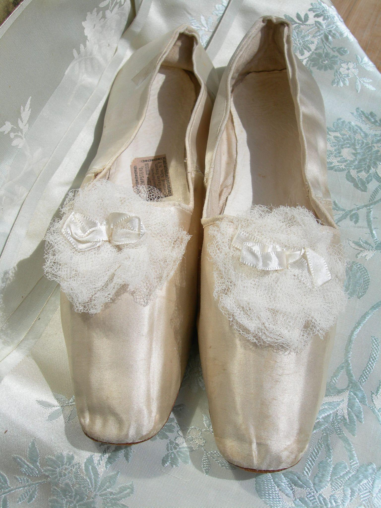 Amazing pair antique silk & rosettes wedding shoes slippers Victorian (USA manufacturer) 1830s
